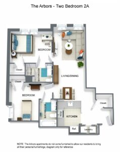 The Arbors Two Bedroom 2A Floor Plan