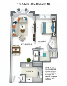 Arbors One Bedroom 1B Floor Plan