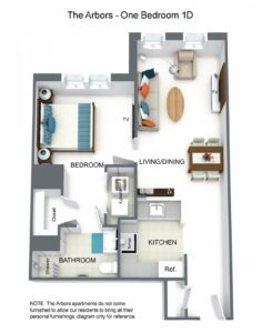 The Arbors One Bedroom 1D Floor Plan