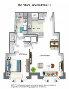 The Arbors One Bedroom 1E Floor Plan