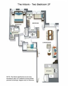 The Arbors Two Bedroom 2F Floor Plan